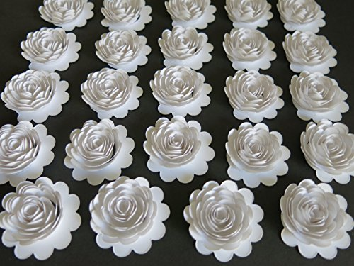 Carnation Rose Centerpiece (Set of 24 White Paper Carnations, 1.5