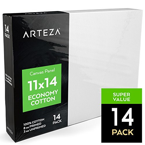 Arteza Painting Canvas Panels, 11x14, Set of 14, Primed White, 100% Cotton with Recycled Board Core, for Acrylic, Oil, Other Wet Or Dry Art Media, for Artists, Hobby Painters, (Media Cotton Canvas)