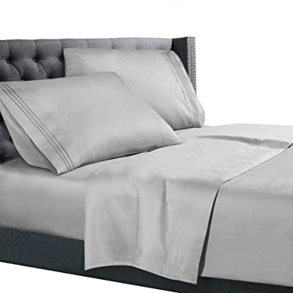 Superior Split King Size Bed Sheets Set Silver, Bedding Sheets Set On Amazon, 5
