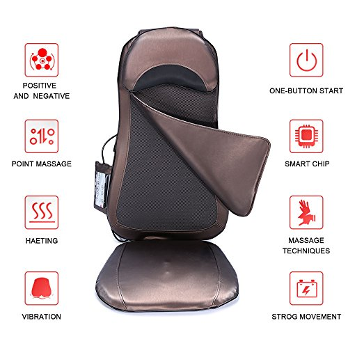 Shiatsu Back Neck Massager Seat Cushion with Heat Deep Kneading Full Back Massager for Home Office Car (Full Cushion Massager)