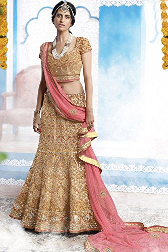 IWS Indian Women Designer Wedding beige Lehenga Choli K-4571-40099
