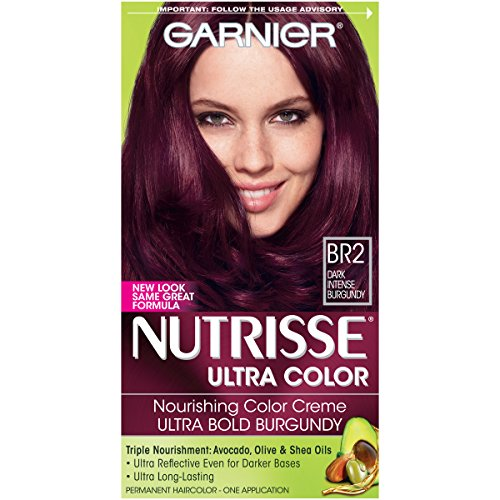 Garnier Nutrisse Ultra Color Nourishing Permanent Hair Color Cream, BR2 Dark Intense Burgundy (1 Kit) Red Hair Dye (Packaging May Vary)