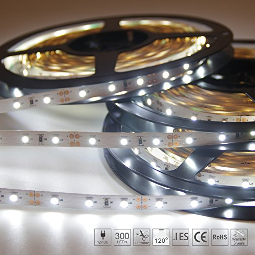 Signcomplex 16.4ft LED Flexible Strip Lights, 300 Units SMD3528 LEDs, Non-Waterproof 12V DC Led Tape Light, For DIY Christmas lights Party Kitchen Bedroom Decoration stairs windows USE- Daylight (Diy Black Light Decorations)