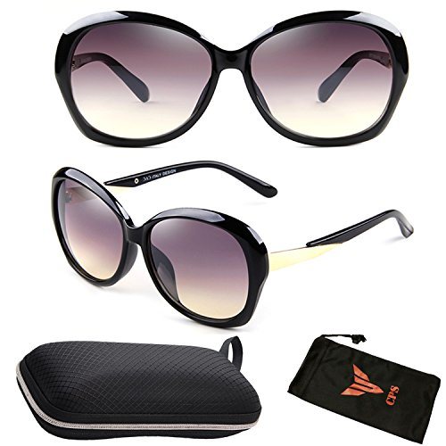 (#CHNEL-21 Blk ) Polarized Lenses Desinger Oversized Square Fashion Trendy Women Sunglasses Eyewear with Free Hard Case - Discounts Sunglasses