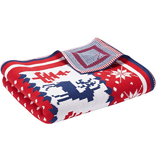"""Blueberry Pet Super Soft Cozy Ugly Christmas Reindeer Knitted Throw Blanket, 50"""" x 60"""", Tango Red & Navy Blue ()"""