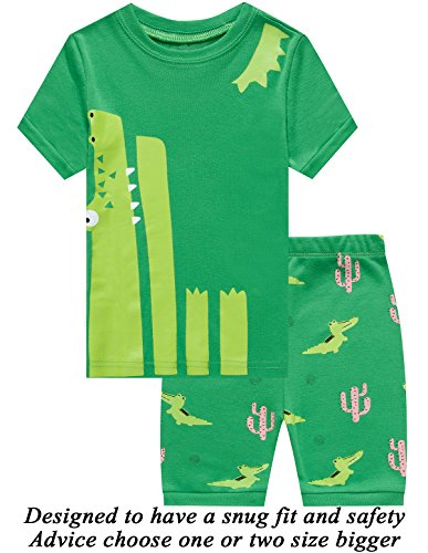 Little Pajamas Boys Pajamas 100% Cotton Crocodile Short Kids Snug Fit Pjs Summer Toddler Sleepwear 6T Crocodile Short