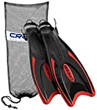 Cressi Palau Long Snorkeling Fins with Mesh Bag, Red, Small/Medium