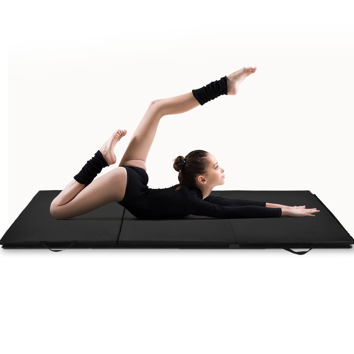 Giantex 6' x 4' Tri-Fold Gymnastics Mat Thick Folding Panel for Gym Fitness Exercise (Black) by Giantex (Image #2)