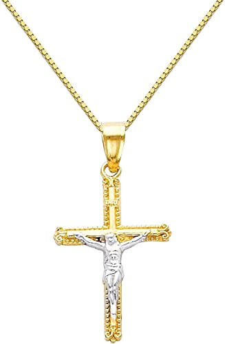 14k Yellow Gold Religious Cross Pendant with 0.65mm Box Link Chain Necklace