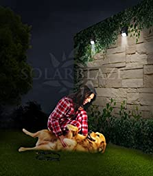 Solarblaze Bright SOLAR LED lights - motion sensor wireless security lighting NO TOOLS Easy Peel \'N Stick lights for patio, outside, wall, stairs, home, RV, deck