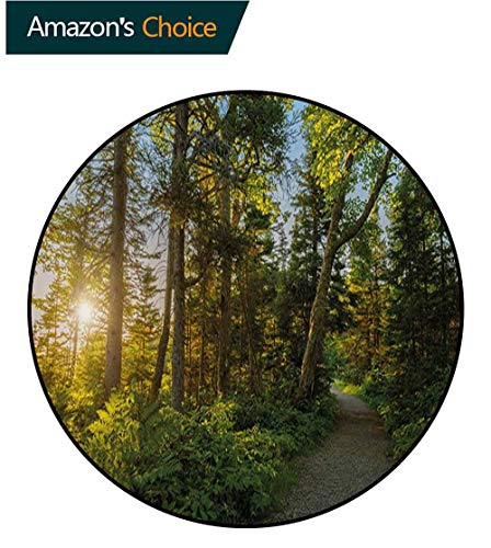 RUGSMAT Landscape Non-Slip Area Rug Pad Round,National Park in Cape Breton Highlands Canada Forest Path Trees Tranquility Photo Protect Floors While Securing Rug Making Vacuuming,Round-63 Inch
