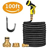 Garden Hose,100 ft Expandable Garden Hose,Expanding Water Hose,Lightweight Garden Water Hose with 3/4'' Solid Brass Fittings, 8 Function Spray Nozzle, Durable Outdoor Gardening Flexible Hose