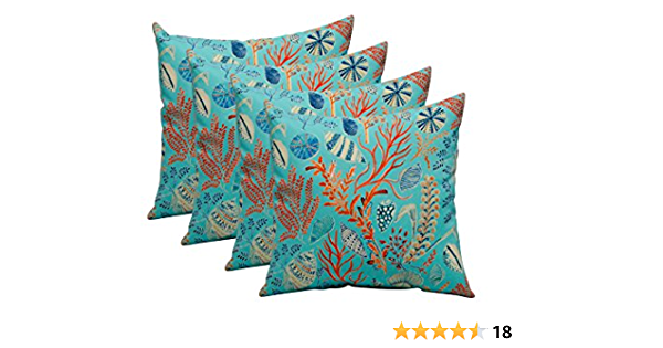 Set Of 4 In Outdoor 17 Square Decorative Throw Pillows Blue Peach White Cream Orange Coral Red Ocean Life Coastal Coral Reef Kitchen Dining