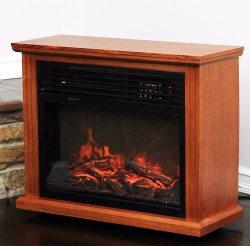 Nikkycozie Electric Quartz Infrared Fireplace Heater Deluxe Mantel Oak/Walnut for Large Room Brass Iron Fireplace Fender