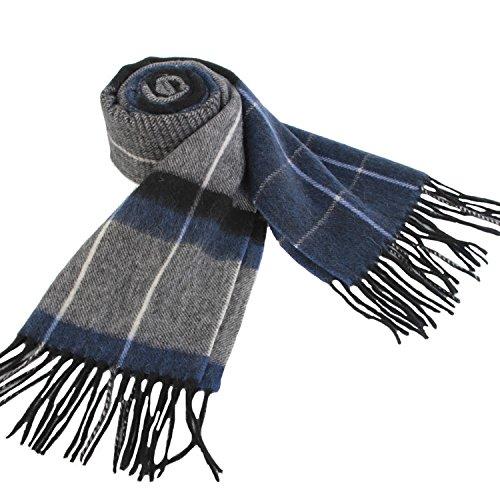 Erigaray 100% Wool Mens Scarf Plaid Winter Warm Fashion knit Scarfs For Men by Erigaray (Image #1)