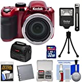 KODAK PIXPRO AZ421 Astro Zoom Digital Camera (Red) with 32GB Card + Battery + Case + Flash + Tripod + Kit