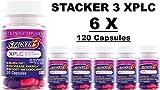 Stacker 3 XPLC 20 Capsules/ Bottle (Lot of 6 X Bottles) = 120 Capsules