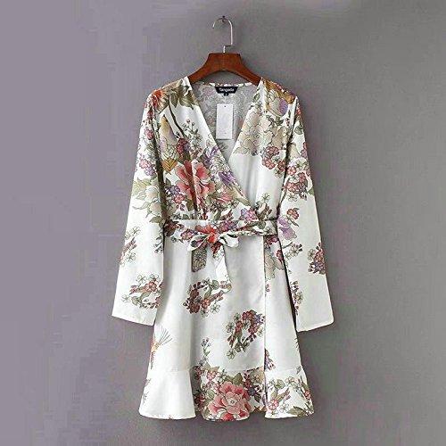 Floral Vestidos Cuello De Bohemia La Camisa Con Arco Correa En Junhongzhan Impresión Señoras Blanco Mujer Mini V Vestido w1XAWBxqBf
