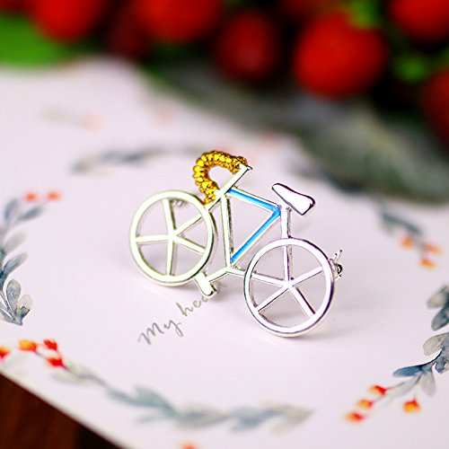 Bike Pin Brooch ((Mystery ornaments) Jaese silver brooch romantic cycling gold thread collar pin pin male and women girls female models bike)