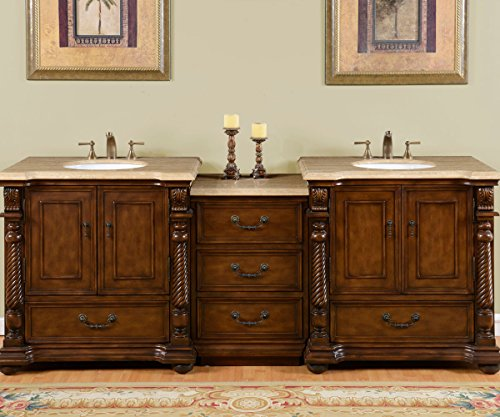 Silkroad Exclusive Countertop Travertine Stone Double Sink Bathroom Vanity with Modular Cabinet, 92-Inch (Bath Vanity 92)