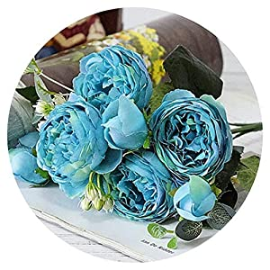 shine-hearty 8 Heads Artificial Rose Flowers Decorative Silk Flowers Fake Bouquets for Home Party Decoration Wedding Flowers Wreath Garland,6 46