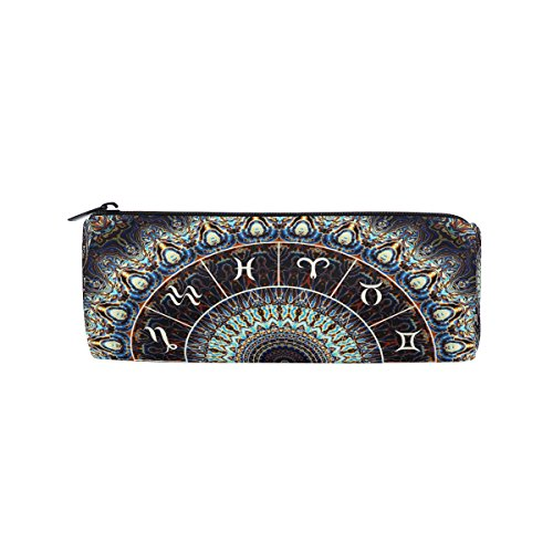 AHOMY India Mandala Constellation Round Pencil Case Stationery Bag Zipper Pouch Pencil Holder by AHOMY
