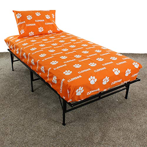 College Covers Clemson Tigers Printed Sheet Set, Twin, White Clemson Tigers Ncaa College Bedding