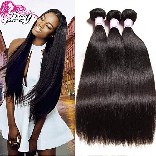 Beauty Forevr Hair Brazilian Virgin Straight Hair Weave 3 Bundles 100% Unprocessed Human Hair Extensions Natural Color Can Be Dyed and Bleached (18 20 22)