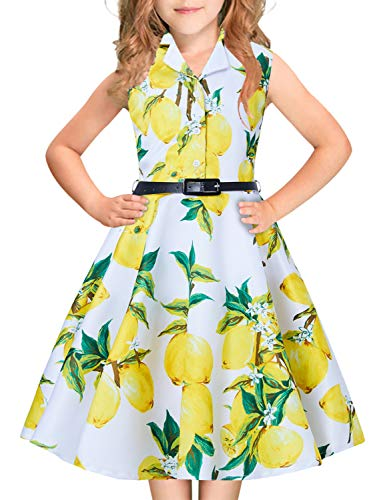 Junior Girls Princess Swing Pleated Dress Yellow Lemon Hawaiian Print Green Leaves Flower for Size 12Y 13Y Big Teenager 1950s 1940s 80s 90s Midi Long Aline Classy Prom Dressing Up Dresses with Belt