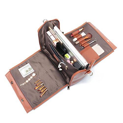 Shoe Bag Leather Embossed (Brenice Travel Makeup Bag, Embossed Flower Handbags Vintage Large Capacity Leather Bohemian Shoulder Bag Red 12.2''x 5.71''x 11.42''(LxWxH))