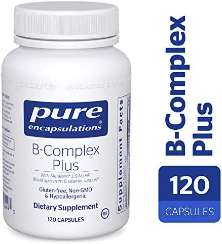 Pure Encapsulations - B-Complex Plus - Balanced B Vitamin Formula with Metafolin® L-5-MTHF and Vitamin B12 - 120 Count