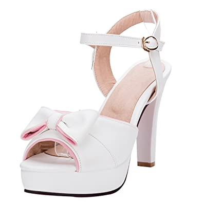a64a30100af923 Damen Blockabsatz High Heels Sandalen Plateau Pumps mit Knöchelriemchen und  Schleife Schnalle 10cm Absatz süß Schuhe