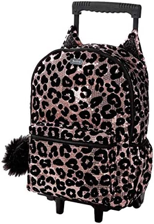 Amazon Com Justice Cheetah Rolling Backpack For Girls Kids