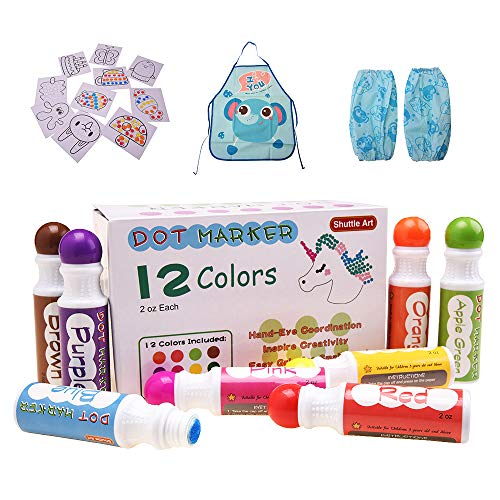 Shuttle Art 12 Colors Washable Dot Markers, Bingo Daubers Dabbers Dauber Dawgs for Kids Toddlers Preschool Children Art Craft Supply with 10 Patterns Double Adhesive Paper 1 Apron 1 Sleeve -