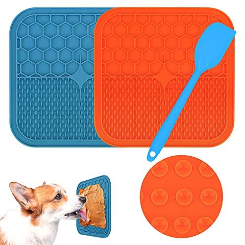 Morfone Leckmatte Hund, BPA-frei,2 Stück Schleckmatte Hund mit 1 Silikonspatel, Leckmatte Hund Gross mit Super Starke…