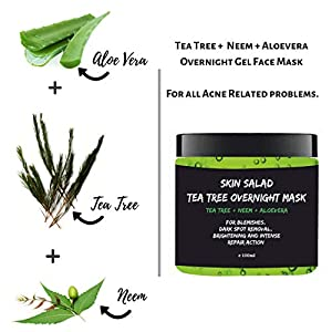 Skinsalad Tea Tree Overnight Face mask with Tea tree, Neem, Aloevera, anti acne gel mask, blemish and dark spot removal…