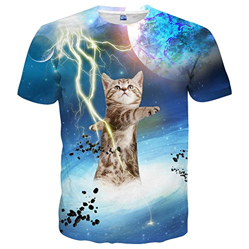Unisex Thunder Cat Coloful 3D Graphic Short Sleeve T Shirt, S to XXL