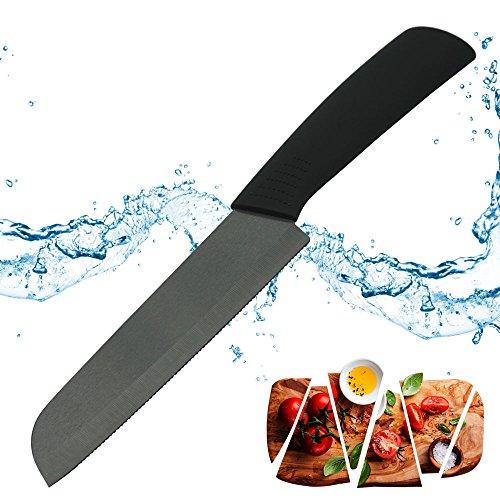 Premium Ceramic Knife Series | 6 inch Black Blade Serrated Knife,Micro-serrated Design | Vegetable Cleaver (Black) (Serrated Ceramic)