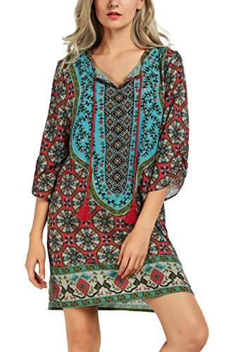 Women Bohemian Neck Tie Vintage Printed Ethnic Style Summer Shift Dress (Small, Pattern - Kind Dress A