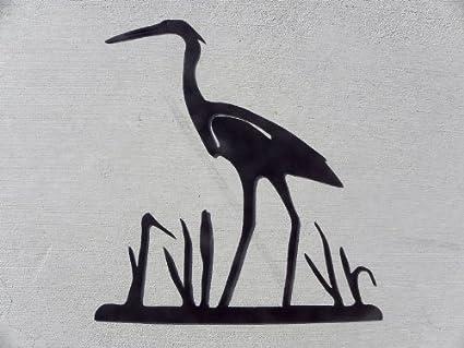 amazon heron crane egret bird in reeds silhouette metal wall