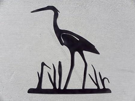 amazon com heron crane egret bird in reeds silhouette metal wall