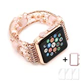 Apple Watch Band,Ezzdo Decorated Handmade Jewelry Faux Pearl Luxury Bracelet Rose Gold Elastic Stretch Replacement Strap + Frame for women iWatch 38mm 42mm Series 1 2 (Pink Jewelry, 38mm)