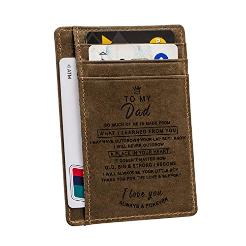 Engraved Pocket Wallet For Men,Personalized Minimalist Slim Leather Pocket Wallet for Husband Son Birthday Christmas Gift (For Dad From Boy) (Birthday Message For A Husband And Dad)