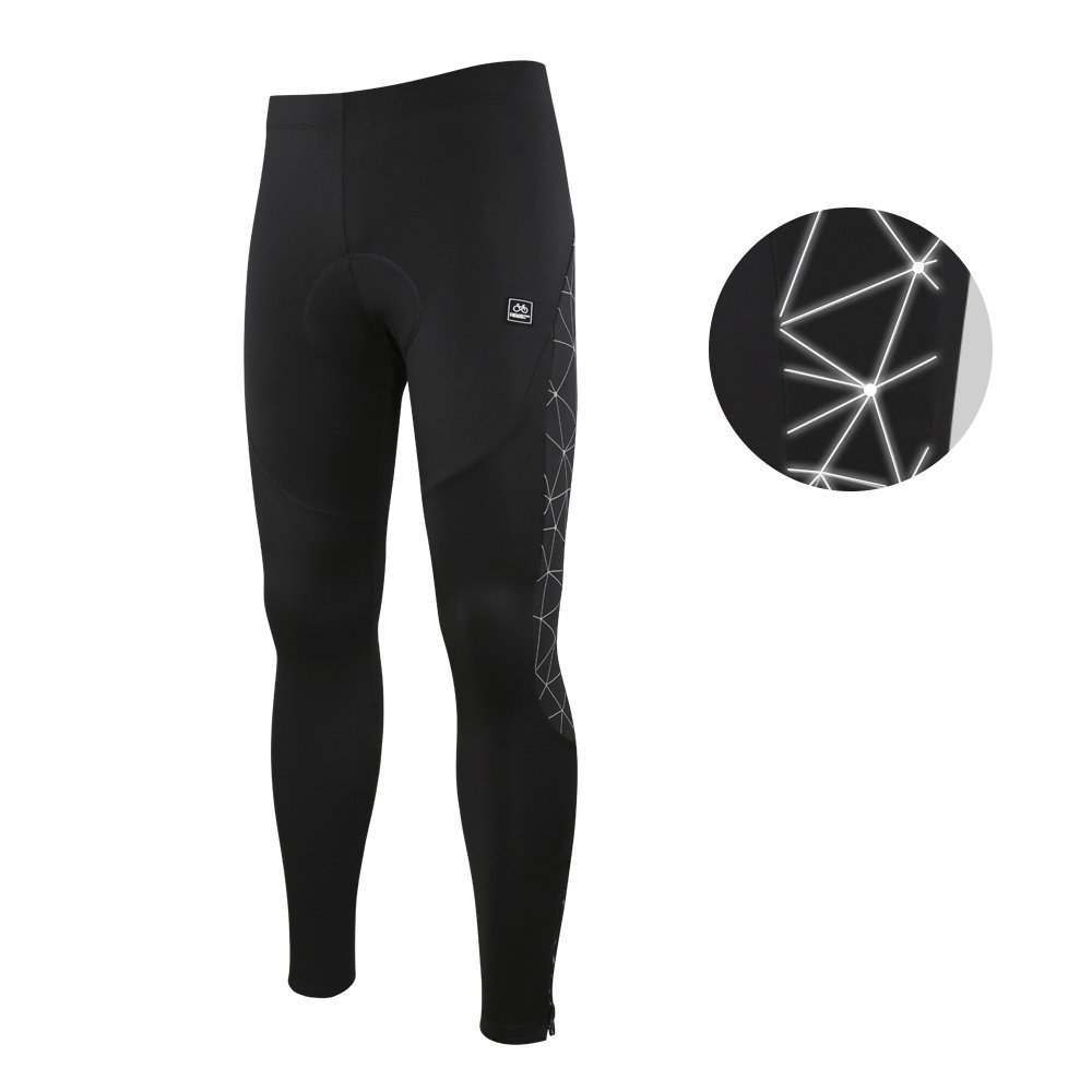 994421baf Amazon.com   Santic Men s Cycling Tights Padded Pants Cycle Leggings Bicycle  Bike Trouser-Reflective Winter Warm Windproof Black   Sports   Outdoors