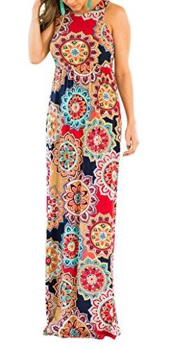 Racerback Multicolored Dress Casual Beach Dress ZRMY Pockets Tunic Long Floral Sleeveless Print Women's Maxi WBaOTq8B