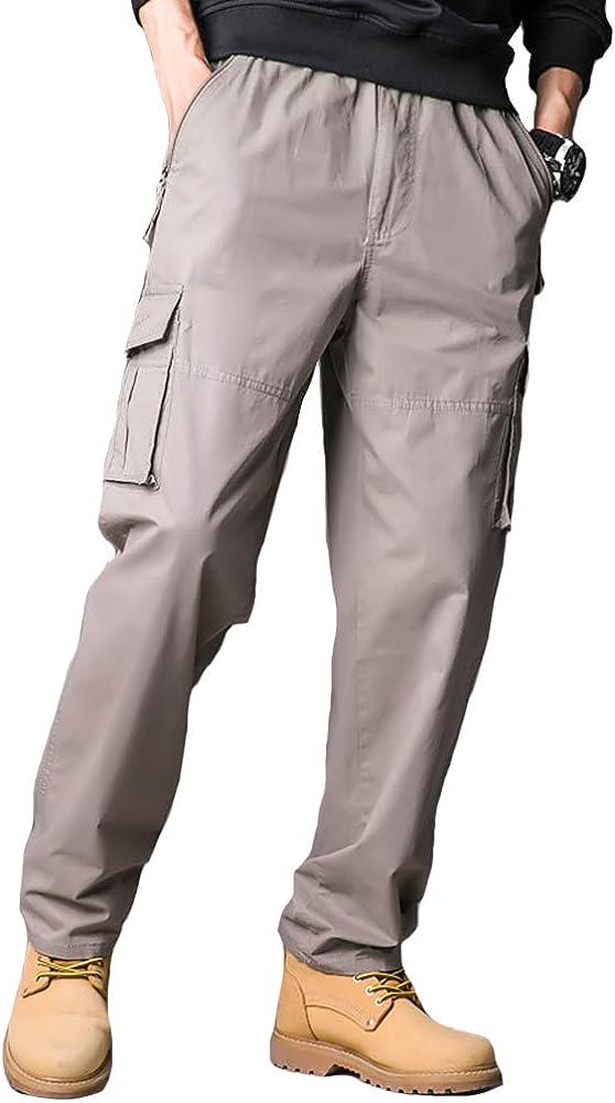 YUNY Mens Multi-Pocket Straight Leg Casual Trousers Cargo Pants Black 4XL