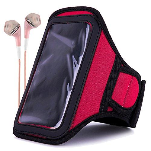 Athlete's Choice Neoprene Workout Armband for Motorola Droid Turbo / Apple iPhone 6 Plus / Samsung Galaxy S6 Edge+ / LG V10 / LG G4 / LG G Stylo / HTC One M9 with Pink Headphones