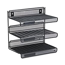 Rolodex : Mesh Three-Tier Letter Size Desk Shelf, 12 1/2w x 9 1/4d x 12 1/2h, Black -:- Sold as 2 Packs of - 1 - / - Total of 2 Each