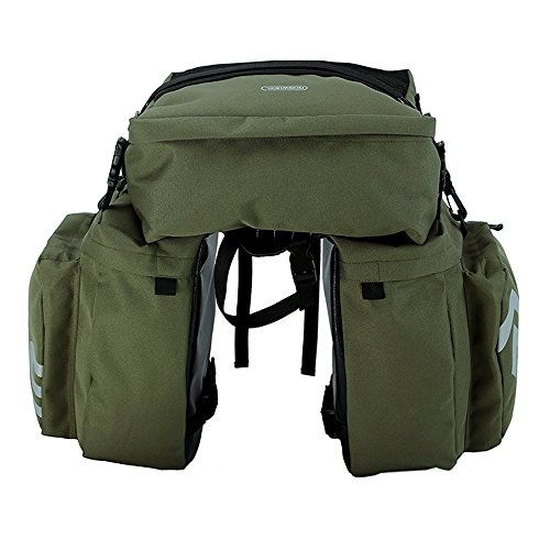 Bike Panniers Waterproof Bag - 3 in 1 Multi Function Messenger Panniers for Bicycles, Bicycle Rear Seat Trunk Bag, Bicycle Saddle Bag for Mountain Cycling by COCO (Army Green) by COCO (Image #1)