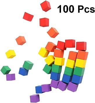 Image of Artibetter 100 Piezas de Cubos Artesanales de Madera sin Terminar Cuadrados de Madera Dados de Bloque en Blanco para Diy Pintura Decoración Rompecabezas Haciendo Manualidades 1 Cm (Colorido)